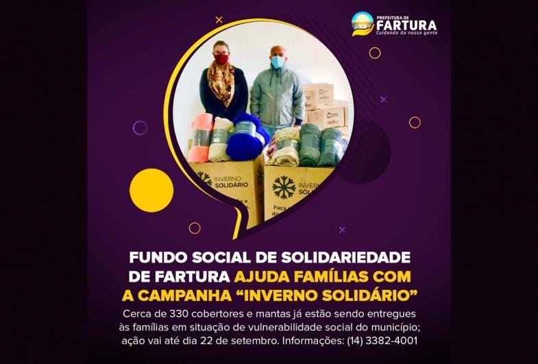 """Fundo Social de Solidariedade de Fartura ajuda famílias com a Campanha """"Inverno Solidário"""""""