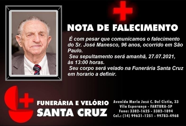 Morre ex-prefeito de Fartura, José Manesco