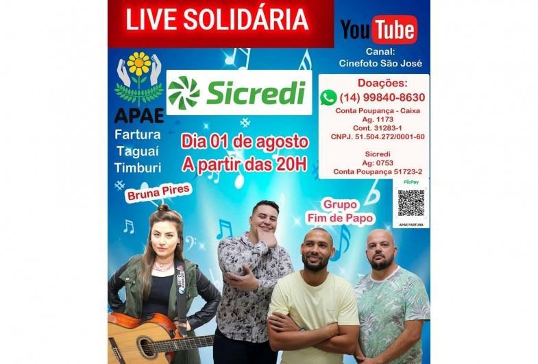 """Neste sábado tem """"Live Solidária"""" em prol Apae de Fartura"""