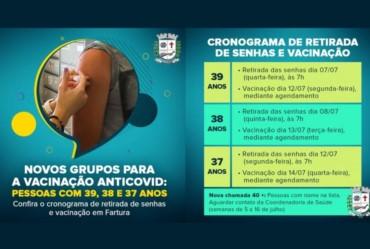 Saúde Farturense atualiza calendário de distribuição de senhas para a vacinação antiCovid para moradores de 37 a 39 anos