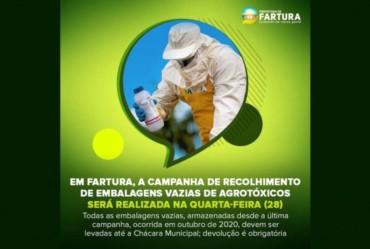 Em Fartura, Campanha de Recolhimento de Embalagens Vazias de Agrotóxicos será realizada na quarta-feira (28)