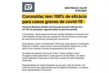 CoronaVac tem 100% de eficácia em casos graves de covid