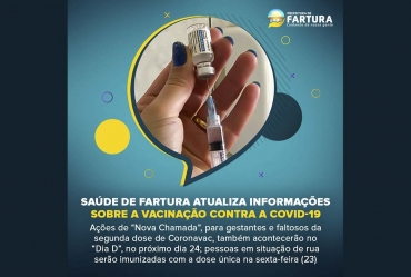 Saúde de Fartura atualiza informações sobre a vacinação contra a Covid-19