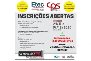 Estão abertas inscrições para cursos da Etec de Taquarituba