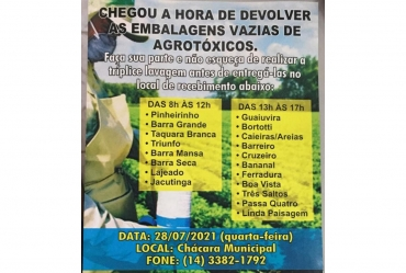 Fartura realiza campanha de devolução de embalagens vazias de agrotóxicos