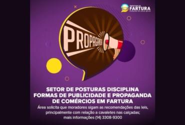 Setor de Posturas disciplina formas de publicidade e propaganda de comércios em Fartura
