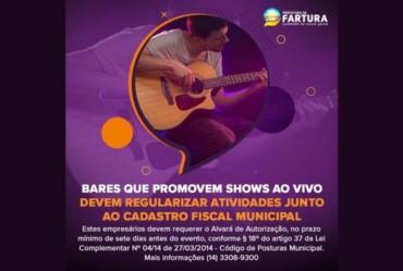 Bares que promovem shows ao vivo devem regularizar atividades junto ao Cadastro Fiscal Municipal