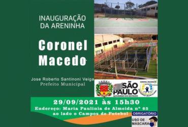 "Coronel Macedo inaugura sua ""Areninha"" nesta próxima semana"